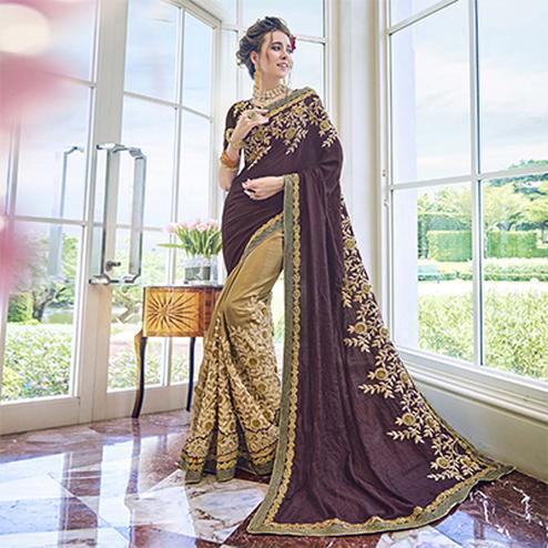 Lovely Beige - Wine Designer Georgette Saree
