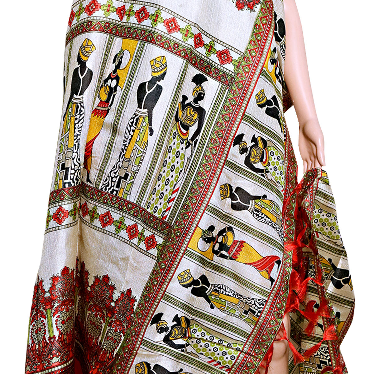 Prominent Cream-Red Colored Festive Wear Printed Khadi Silk Dupatta