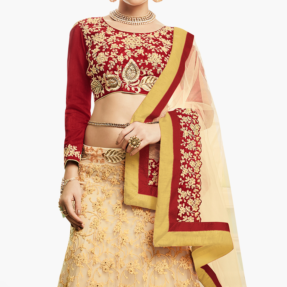 Stunning Beige - Red Colored Party Wear Embroidered Net Lehenga Choli
