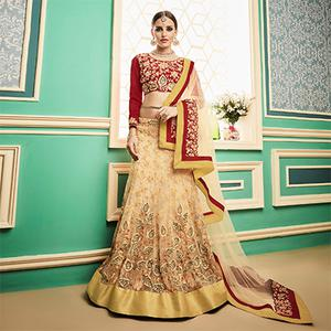 Stunning Beige - Red Embroidered Wedding Wear Designer Net Lehenga