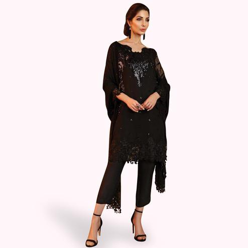 Captivating Black Colored Partywear Embroidered Georgette Suit