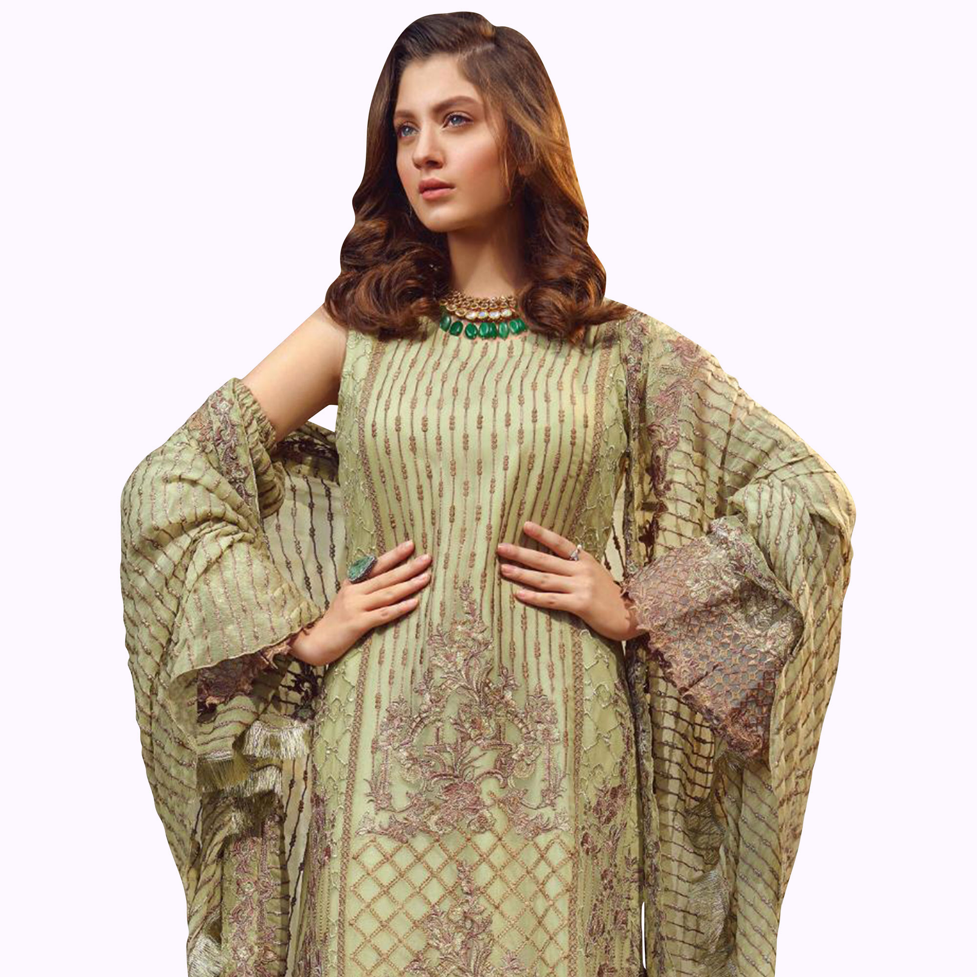 Eye-catching Pastel Green Colored Partywear Embroidered Georgette Suit