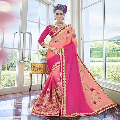 Elegant Peach - Pink Heavy Embroidered Georgette Saree