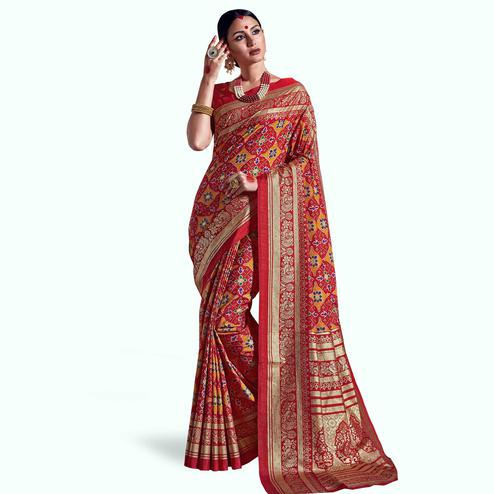 Intricate Red Colored Festive Wear Printed Kanjivaram Silk Saree