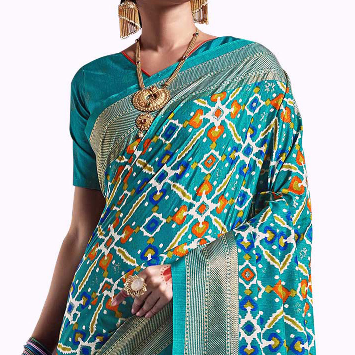 Arresting Sky Blue Colored Festive Wear Printed Kanjivaram Silk Saree