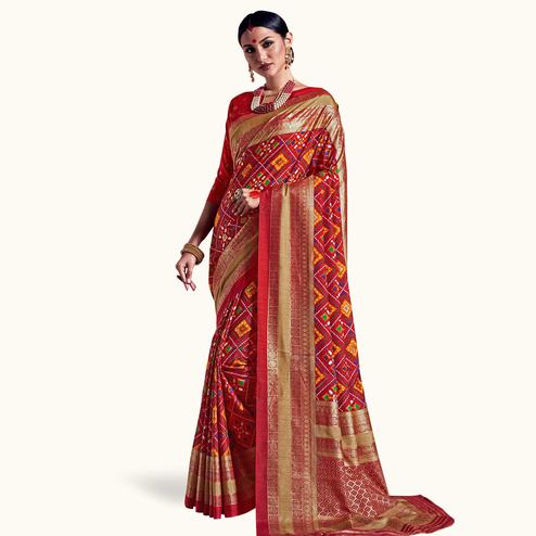 Adorning Red Colored Festive Wear Printed Kanjivaram Silk Saree