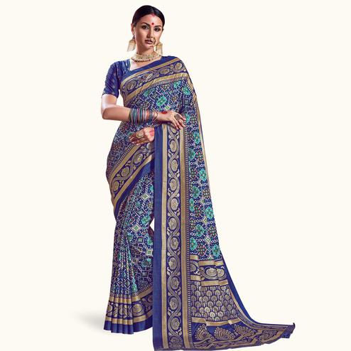 Appealing Blue Colored Festive Wear Printed Kanjivaram Silk Saree