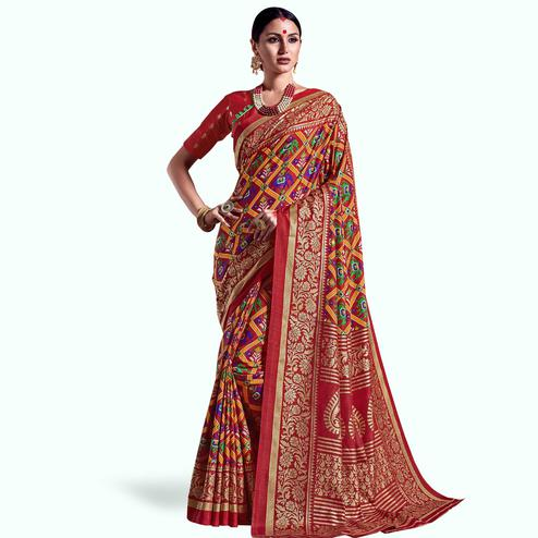 Desirable Red Colored Festive Wear Printed Kanjivaram Silk Saree
