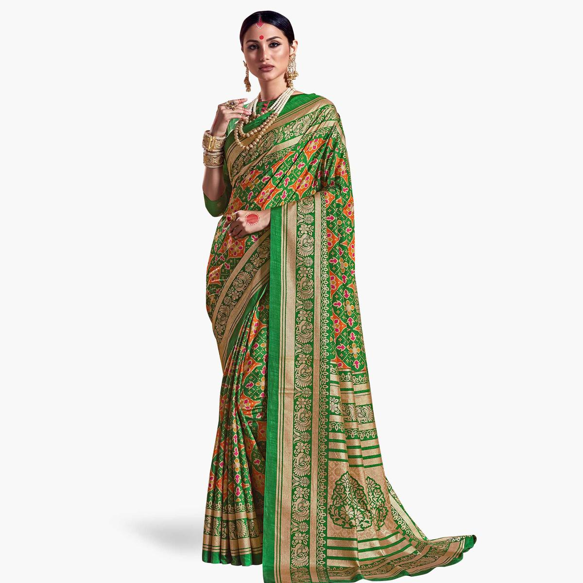 Sophisticated Green Colored Festive Wear Printed Kanjivaram Silk Saree
