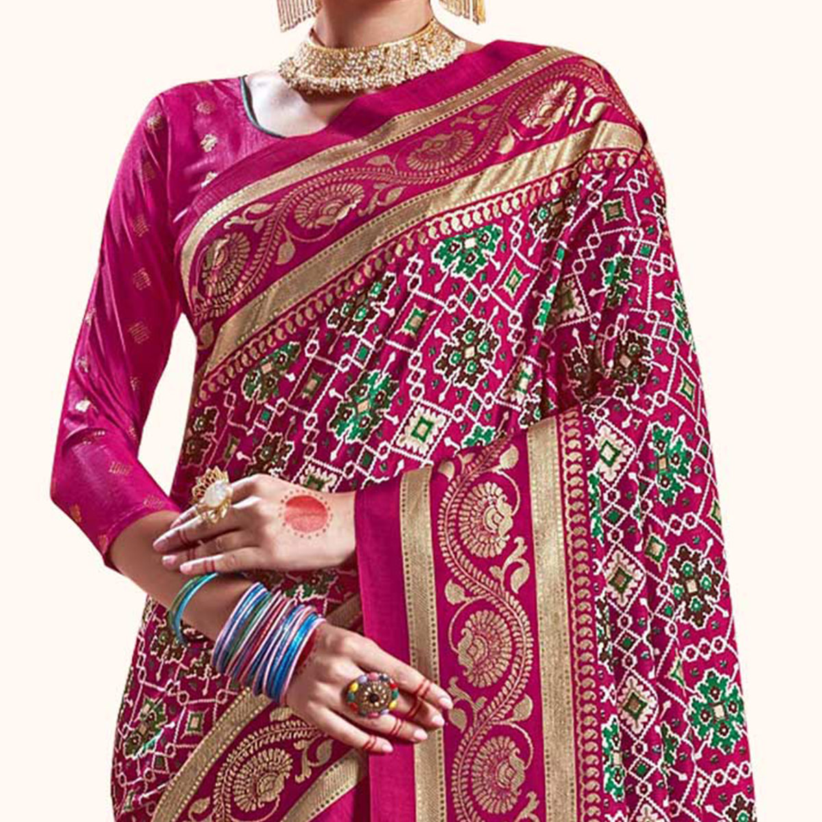 Trendy Pink Colored Festive Wear Printed Kanjivaram Silk Saree