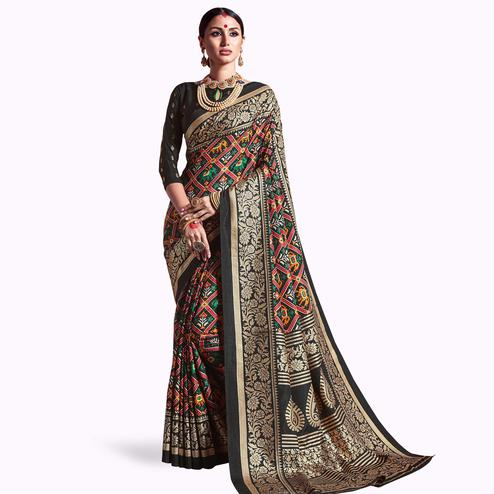 Groovy Black Colored Festive Wear Printed Kanjivaram Silk Saree