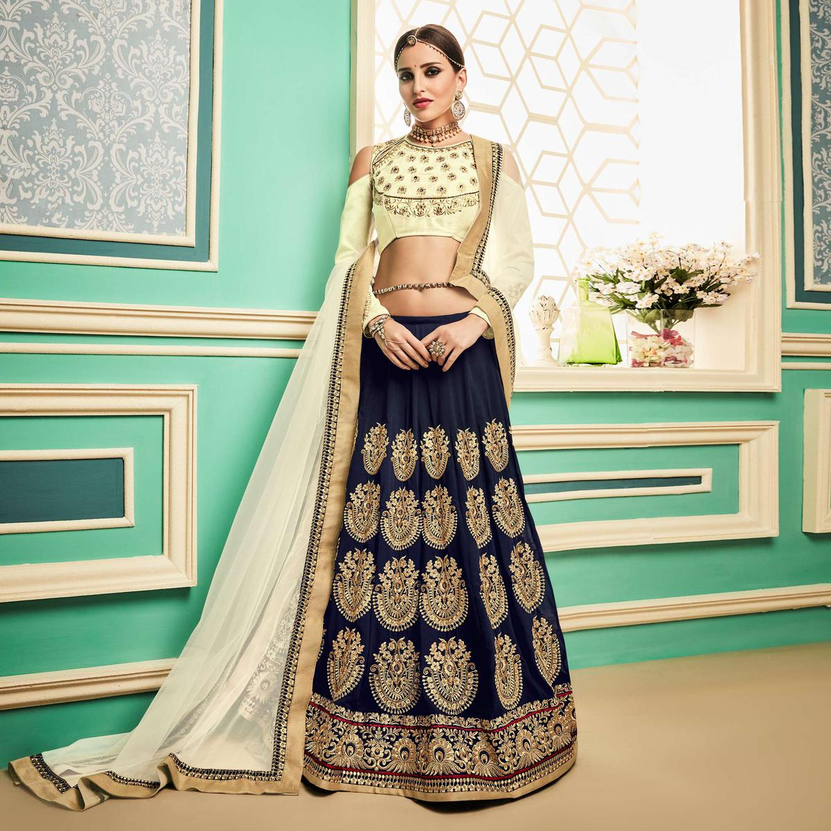 Adorable Navy Blue - Cream Embroidered Mulburry Silk Lehenga