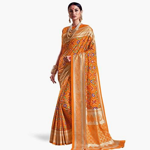 Prominent Orange Colored Festive Wear Printed Kanjivaram Silk Saree