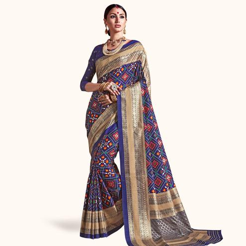 Elegant Blue Colored Festive Wear Printed Kanjivaram Silk Saree
