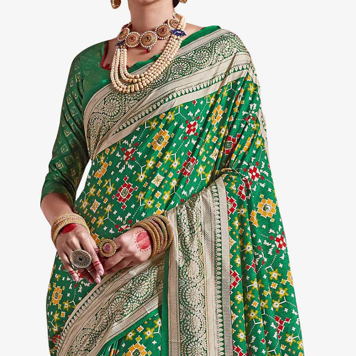 Radiant Green Colored Festive Wear Printed Kanjivaram Silk Saree