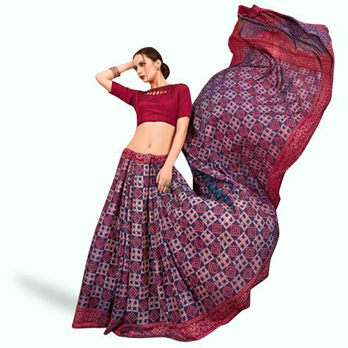 Ethnic Blue Colored Casual Printed Art Silk Saree