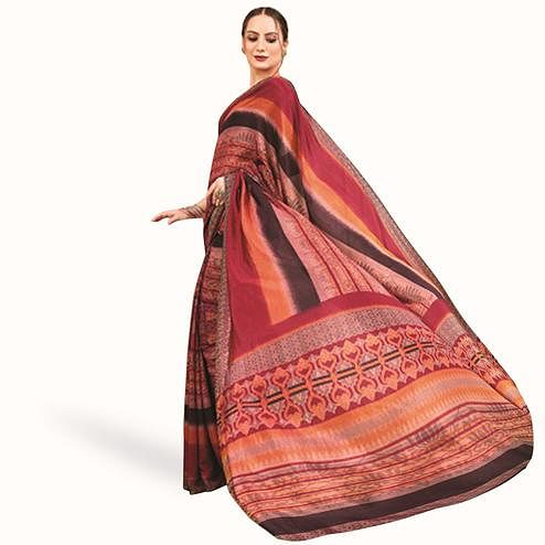 Staring Red-Multi Colored Casual Printed Art Silk Saree