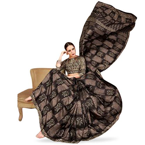 Dazzling Black Colored Casual Printed Art Silk Saree