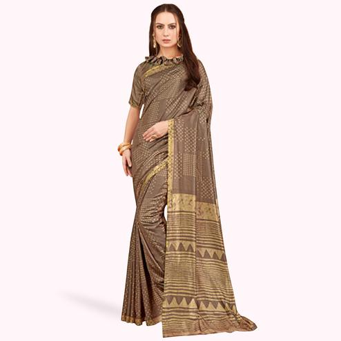 Surpassing Brown Colored Casual Printed Art Silk Saree