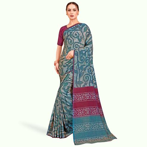 Ideal Gray Colored Casual Printed Art Silk Saree