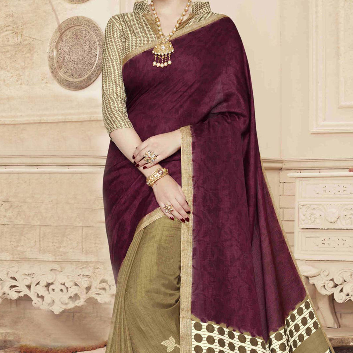 Tan - Wine Casual Wear Digital Printed Saree