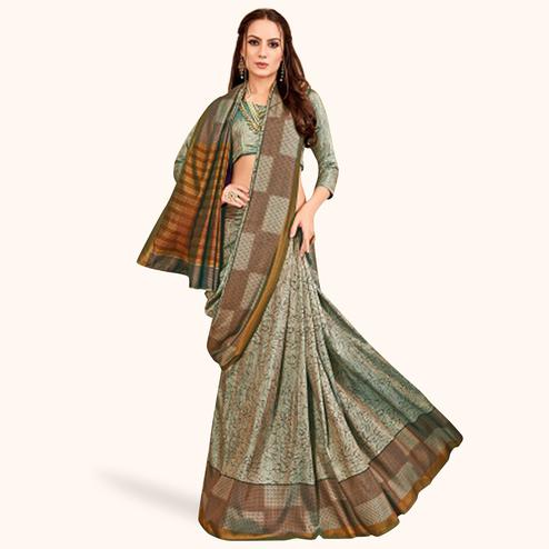 Lovely Gray Colored Casual Printed Art Silk Saree