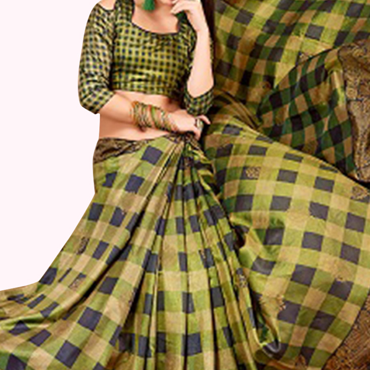 Majesty Green-Multi Colored Casual Printed Art Silk Saree