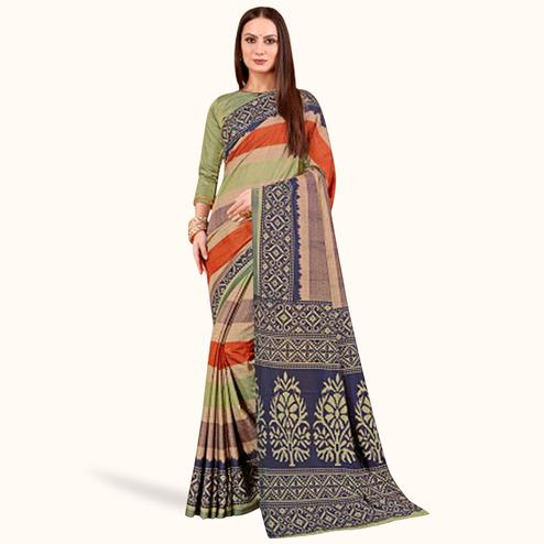Impressive Multi Colored Casual Printed Art Silk Saree