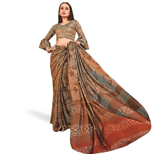 Mesmerising Brown Colored Casual Printed Art Silk Saree