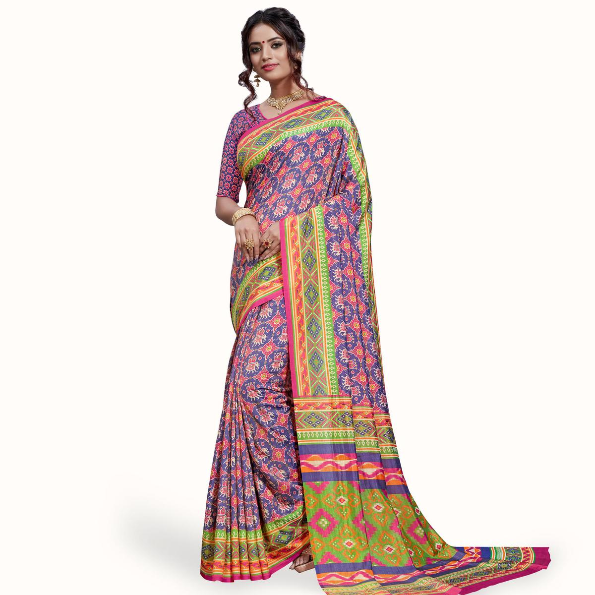 Mesmerising Blue-Pink Colored Casual Printed Art Silk Saree