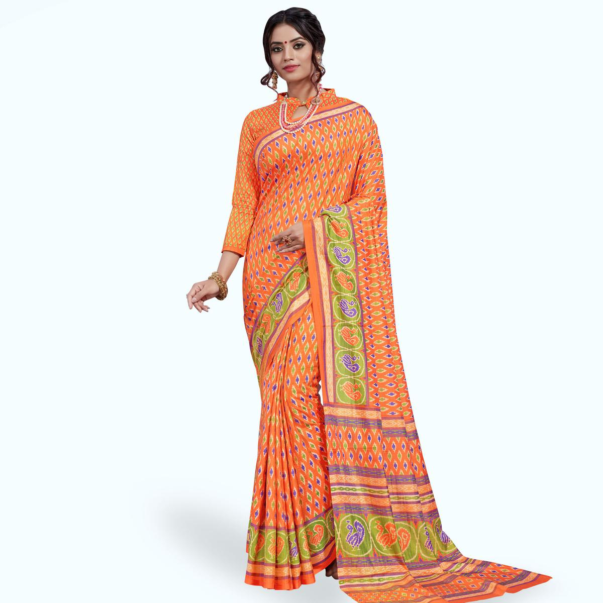 Impressive Orange Colored Casual Printed Art Silk Saree
