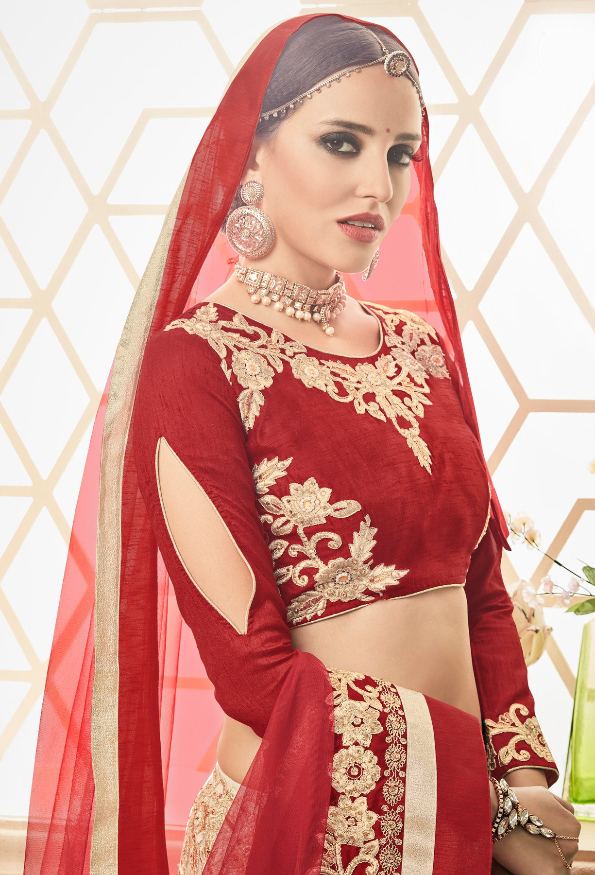 Ravishing Beige - Red Embroidered Wedding Wear Net Lehenga