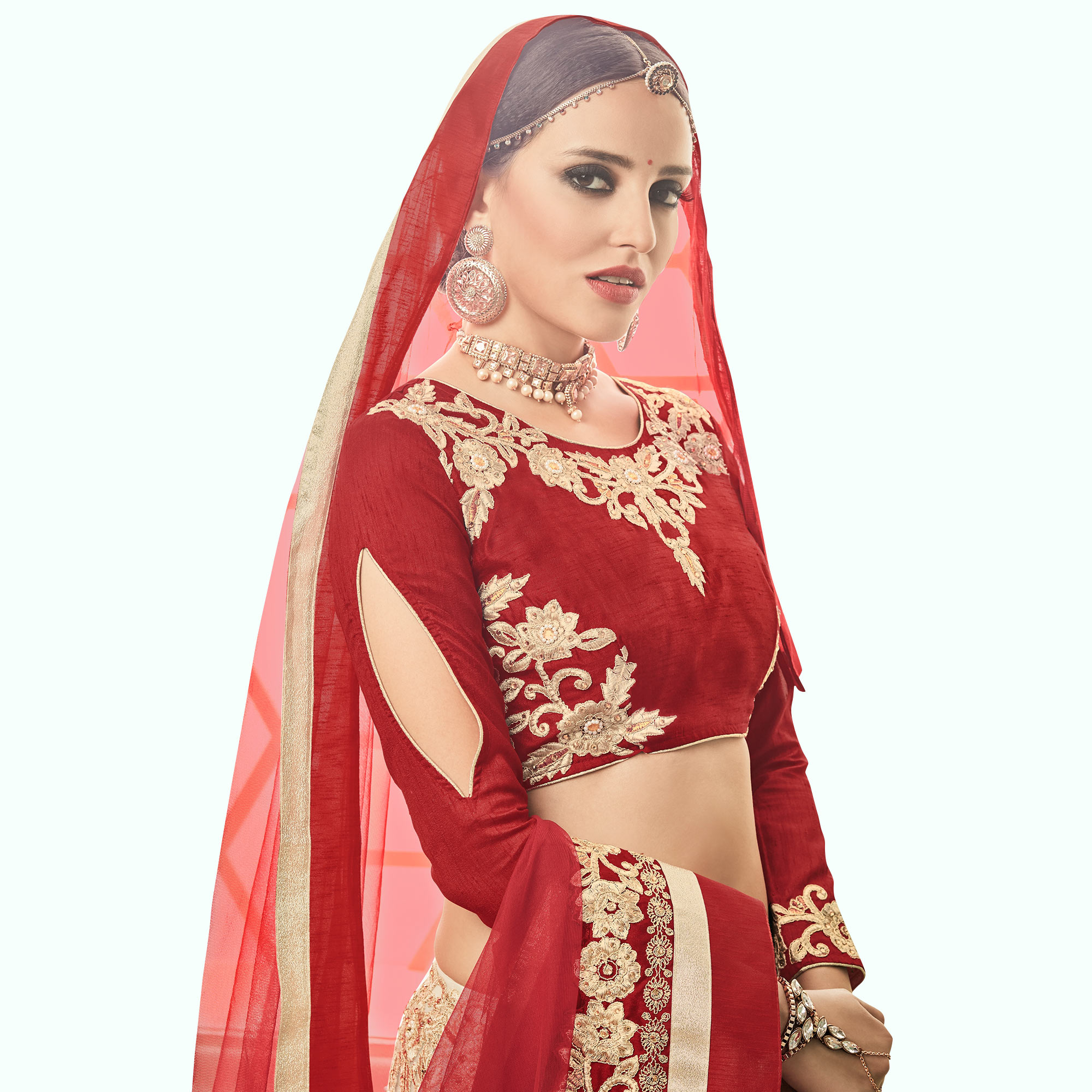 Ravishing Beige - Red Colored Party Wear Embroidered Net Lehenga Choli