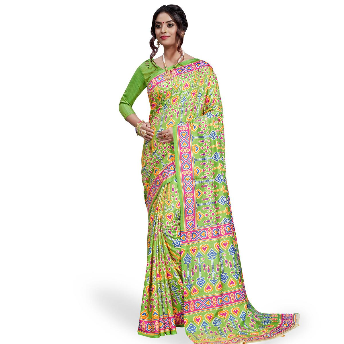 Majesty Green Colored Casual Printed Art Silk Saree