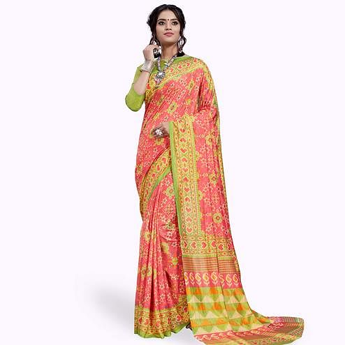 Imposing Peach Colored Casual Printed Art Silk Saree