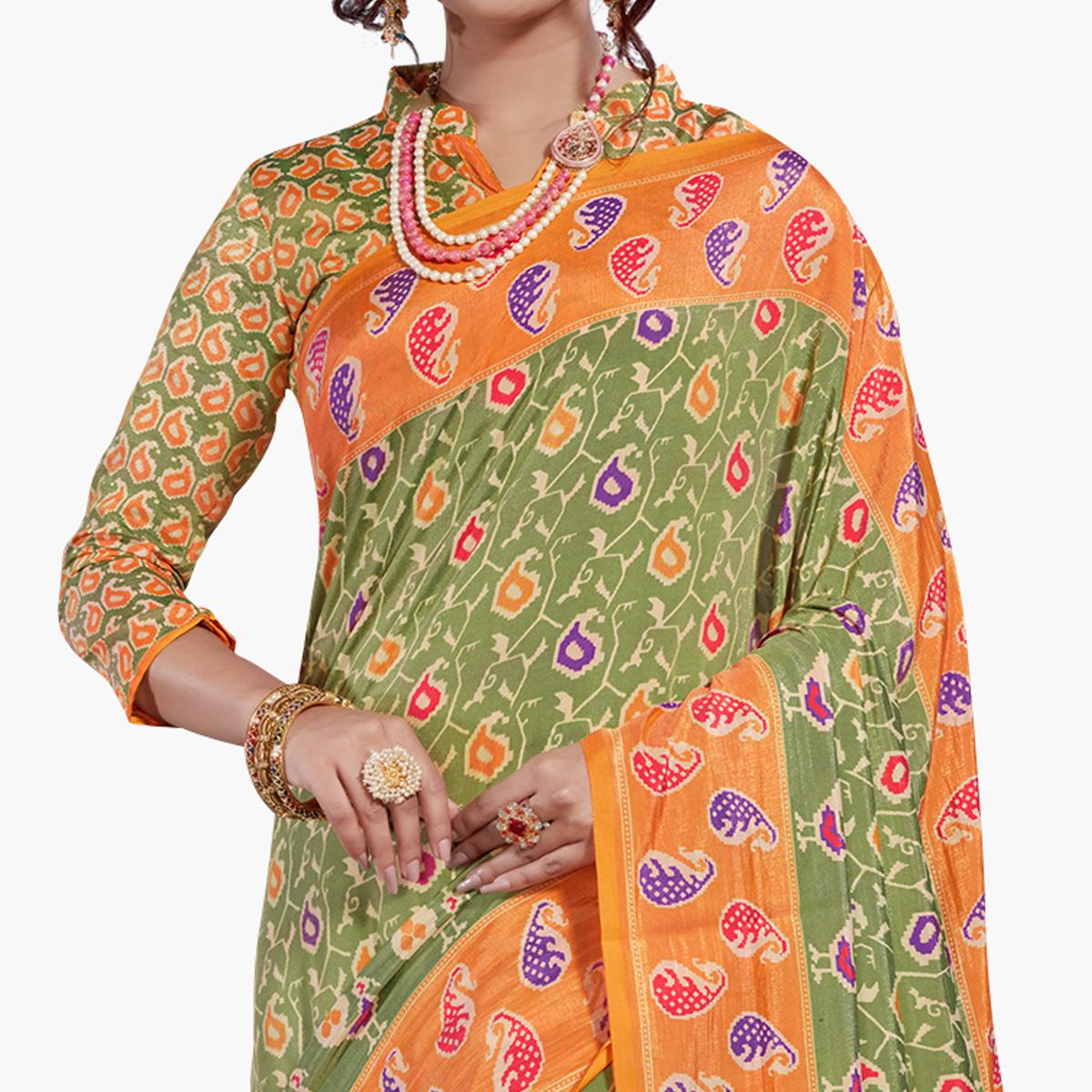 Ideal Green-Orange Colored Casual Printed Art Silk Saree