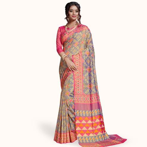 Blissful Gray Colored Casual Printed Art Silk Saree