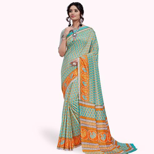 Gorgeous Light Blue Colored Casual Printed Art Silk Saree