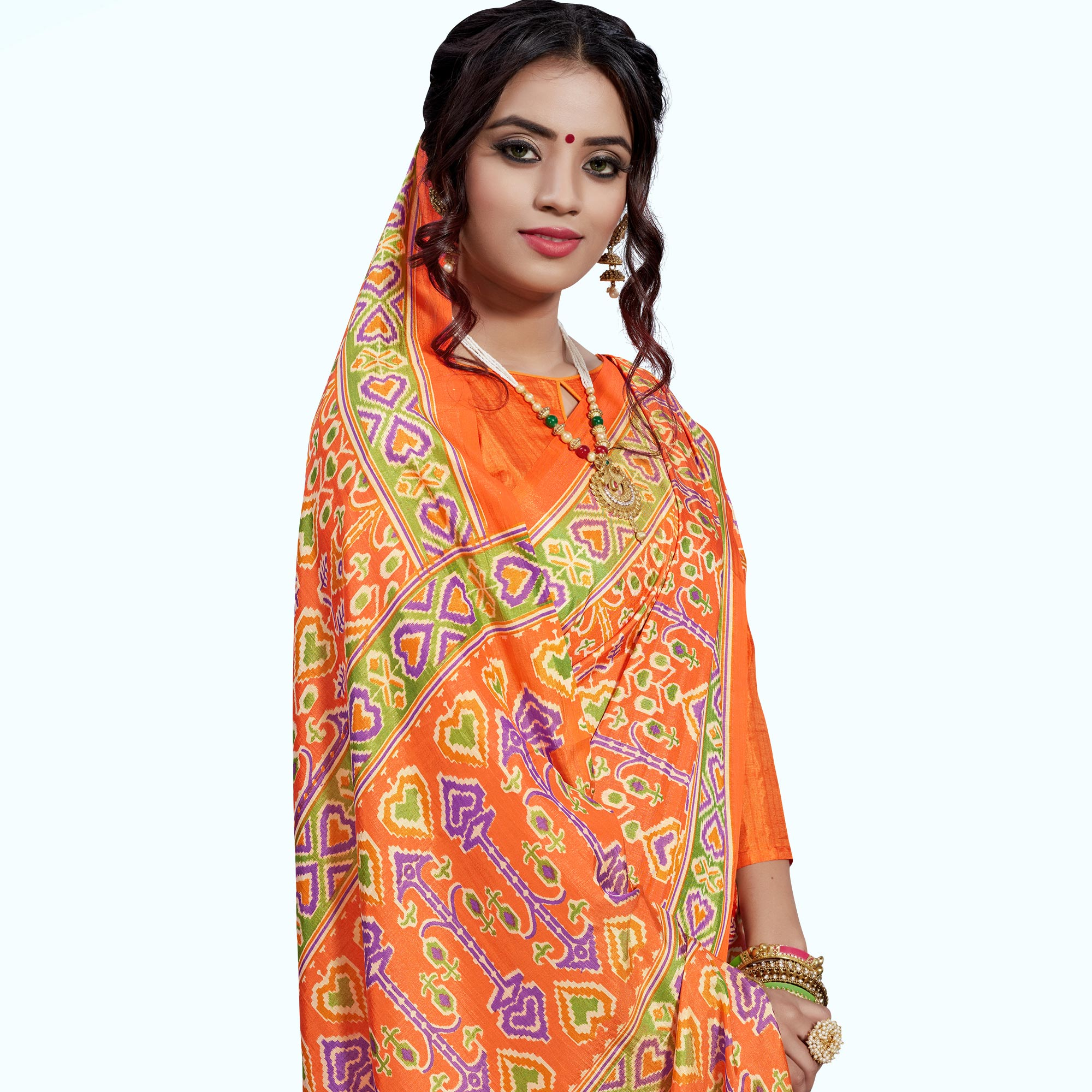 Amazing Orange Colored Casual Printed Art Silk Saree