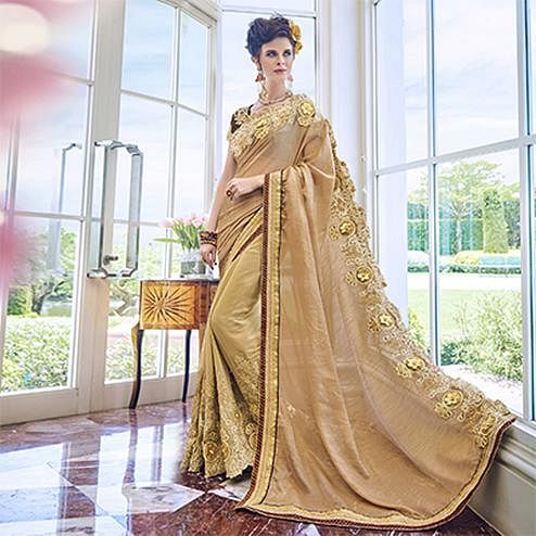 Attractive Beige Embroidered Designer Georgette Saree