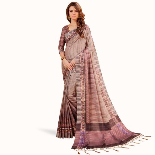 Sophisticated Beige Colored Festive Wear Printed Manipuri Silk Saree