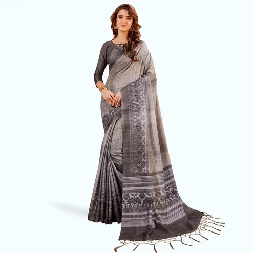 Trendy Gray Colored Festive Wear Printed Manipuri Silk Saree