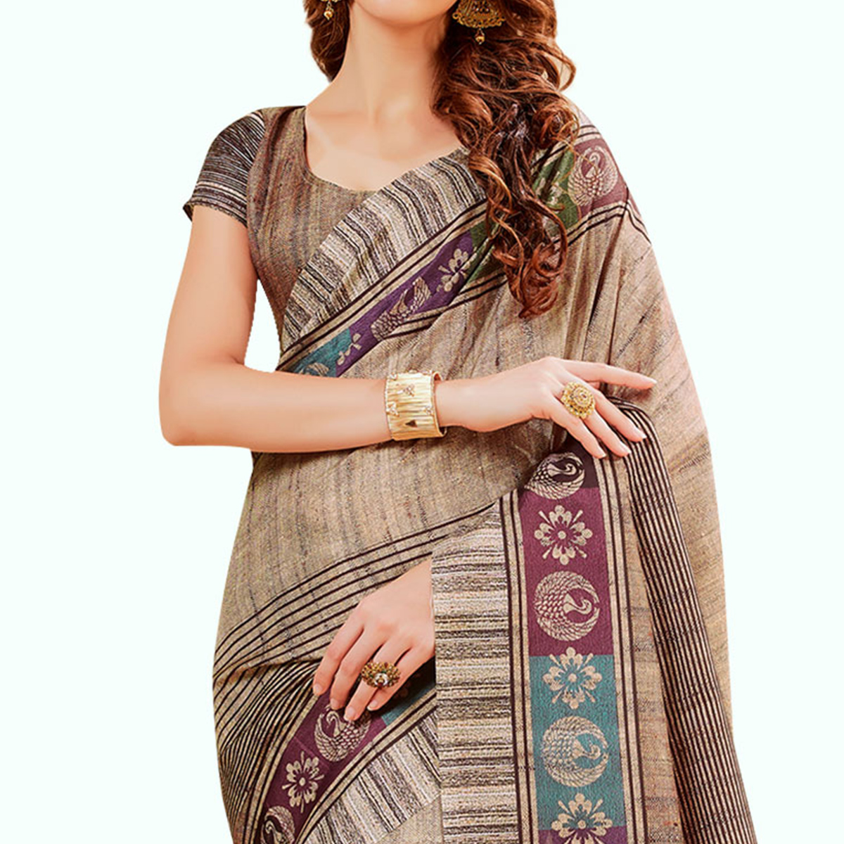 Elegant Beige Colored Festive Wear Printed Manipuri Silk Saree