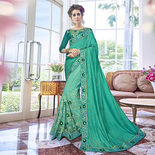 Ravishing Green Designer Georgette Saree