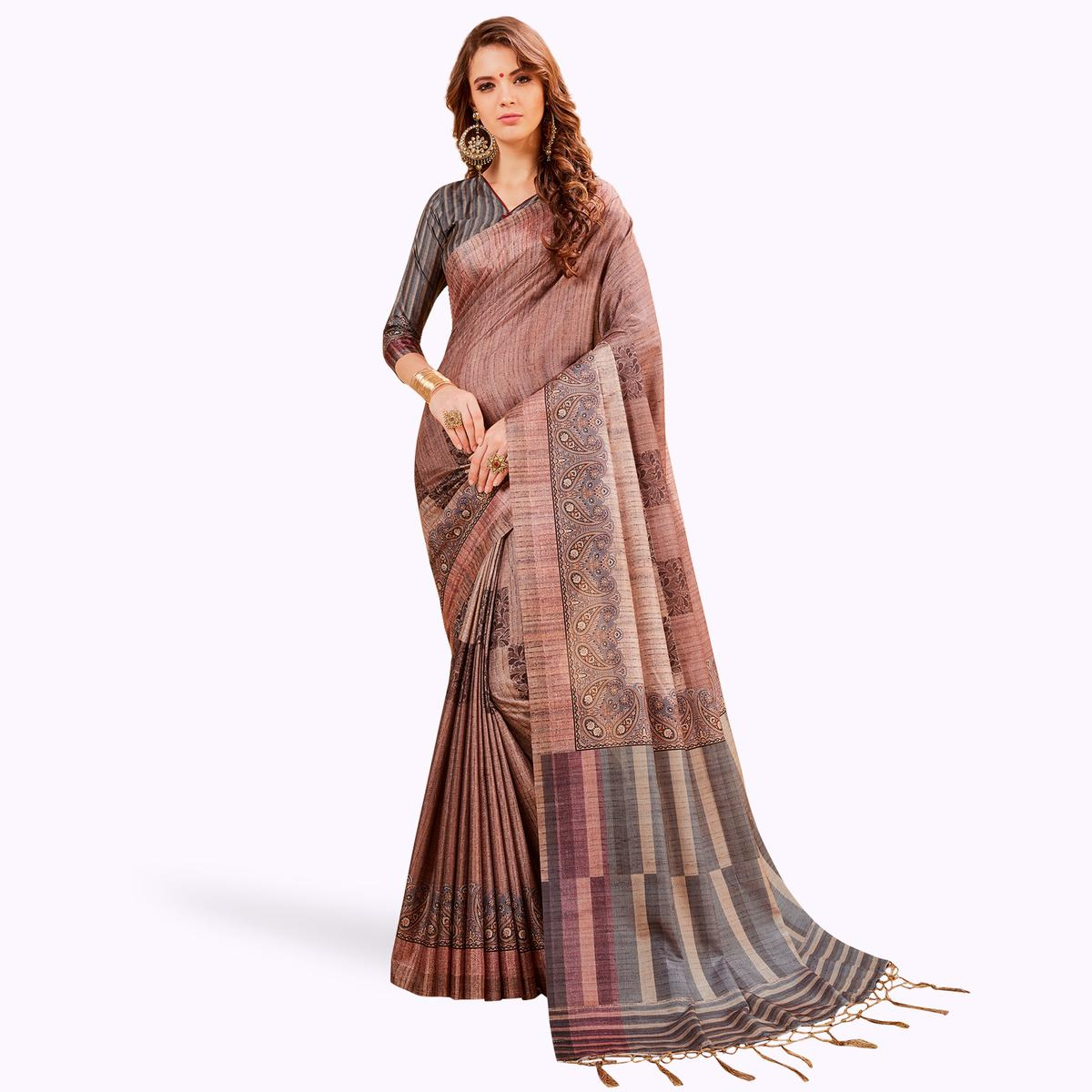 Radiant Mauve Colored Festive Wear Printed Manipuri Silk Saree