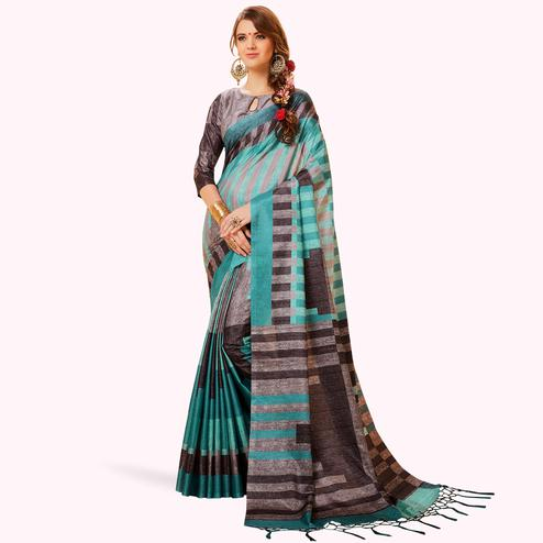 Pleasant Blue-Gray Colored Festive Wear Printed Manipuri Silk Saree