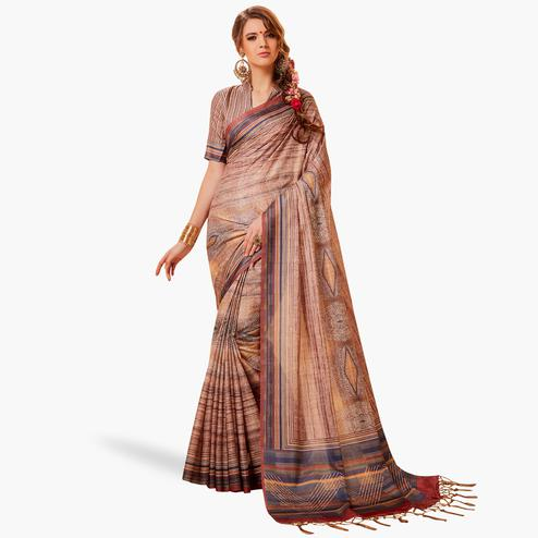 Opulent Beige Colored Festive Wear Printed Manipuri Silk Saree
