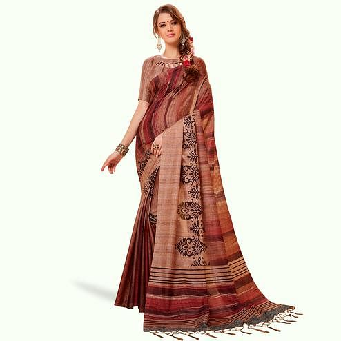 Energetic Beige-Brown Colored Festive Wear Printed Manipuri Silk Saree