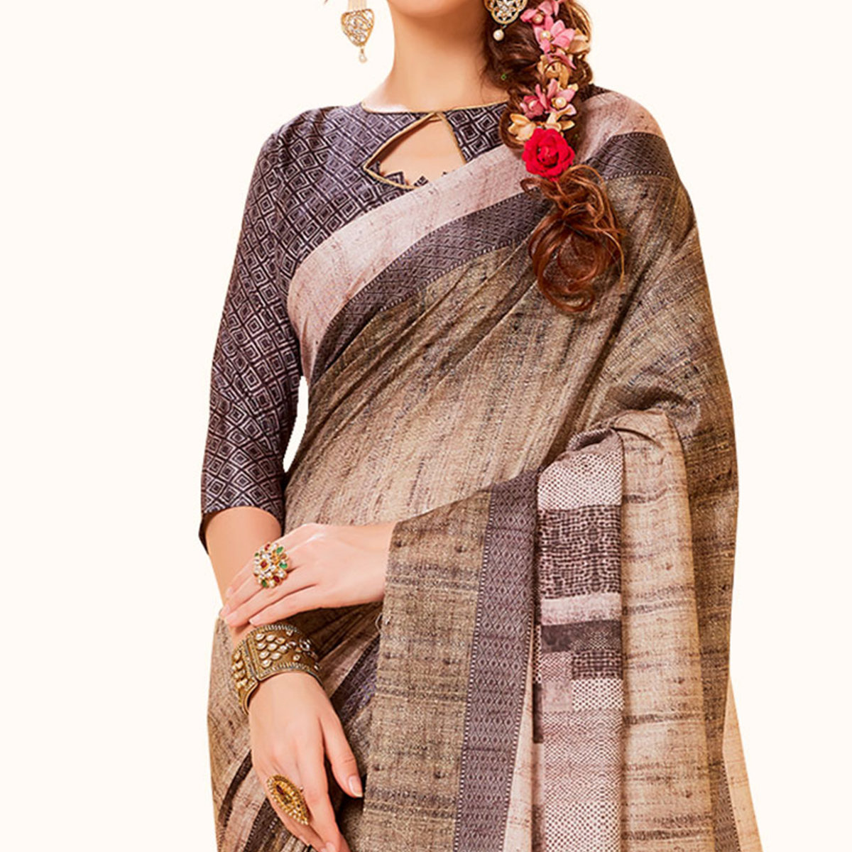 Glowing Beige Colored Festive Wear Printed Manipuri Silk Saree