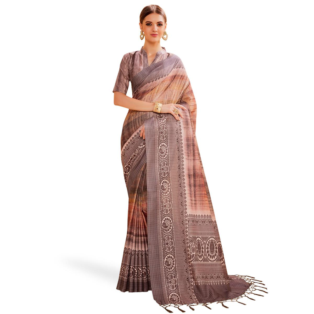 Exceptional Mauve Colored Festive Wear Printed Manipuri Silk Saree